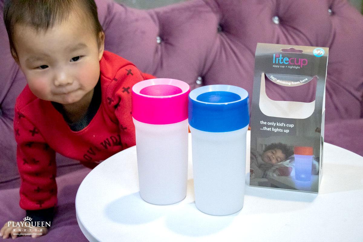 【英國litecup】發光不灑杯,360度矽膠喝水口/防潑灑設計/自動夜光感應,全家人的夜光水杯&學習杯